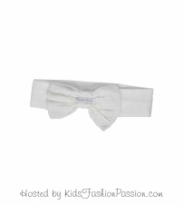 floral embroidered bow trimmed headband-GBA4090SU24-white