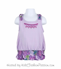 macaw floral ruffled knotted strap top-GBT4416SU24-delight