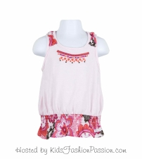 macaw floral ruffled knotted strap top-GBT4416SU24-pearly